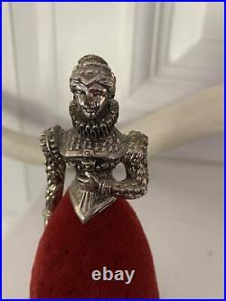 Antique Vintage Victorian Queen Red Velvet Pin Cushion Figure Ornate Metal