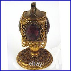 Antique Vtg French Gilt Filigree Ornate Purple Gemstone Lighter