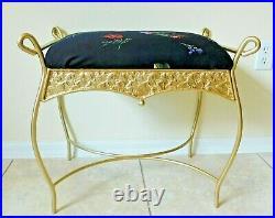 Antique/Vtg Ornate Gold Metal Floral Upholstered Vanity Bench Stool Chair