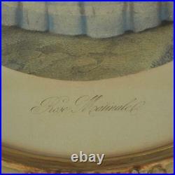Antique Vtg Victorian Woman Art Print in Ornate Oval Frame