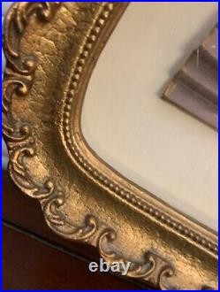 Antique or VTG handprinted fan in ornate bespoke fan-shaped frame 22 x 15 x 2.5