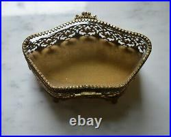 Antique ornate french jewelry box beveled glass gilt brass footed vintage