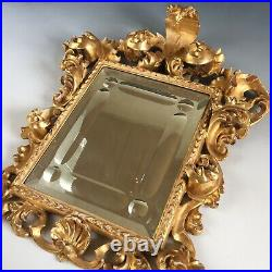 Antique vintage small ornate carved wood Baroque Rococo mirror gold gilt frame