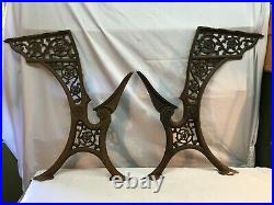 Architectural Salvage Ornate Antique Pair Vintage Cast Iron School Desk Legs