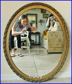 Beautiful Large Antique/Vtg 32 Ornate Gold Wood Gesso Oval Hanging Wall Mirror