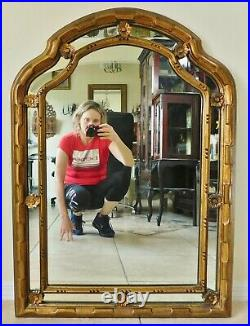 Beautiful Large Antique/Vtg 38 Ornate Gold Flower Hanging Wall Mirror