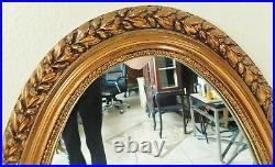 Beautiful Large Antique/Vtg 44 Ornate Gold Flower Oval Hanging Wall Mirror