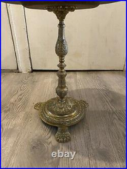 Beautiful Vintage Ornate Brass And Solid Marble Top Round Occasional Side Table