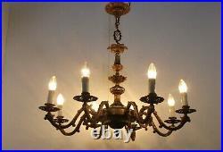 Brass 8 Arms Lights Chandelier Lamp Ornate Etched Hollywood regency Vintage