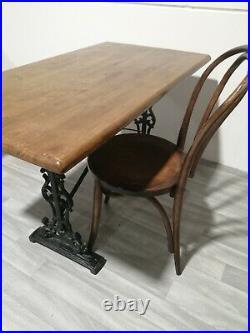 Cast Iron ornate decorative VINTAGE Pub Table with Dark Oak Top