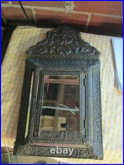 Dutch antique Vintage Ornate Brass Hall Mirror Brushes wall copper cabinet
