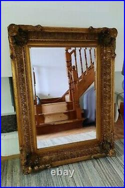 Extra Large Antique Gold Vintage Leaning French Ornate Baroque Decorative Mirror