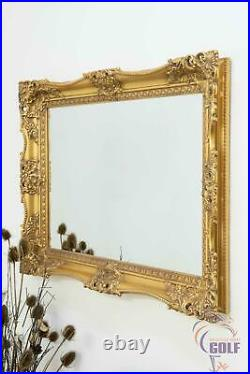 Extra Large Gold Ornate Vintage Wall Mirror 3Ft1 X 2Ft3, 94cm X 68cm Wood