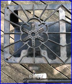 Favorite 77 Cast Iron 2 burner gas camp stove grill vtg Made USA Chicago Foundry