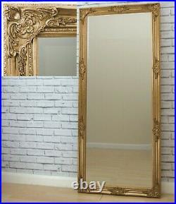 Florence Large Gold Leaf Ornate Leaner Full Length floor Wall Mirror 162cm x72cm