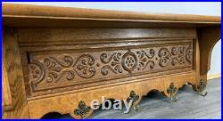 French Antique vintage Solid French 5 hook Ornate Carved coat Plate rack
