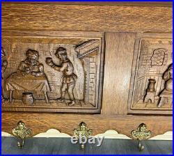 French Antique vintage Solid French 6 hook Ornate Carved coat Plate rack