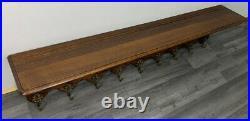 French Antique vintage Solid French 9 hook Ornate Carved coat Plate rack