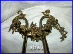 French Ormolu Bronzed Candle Holders Rose Swags Ornate Vintage Antique