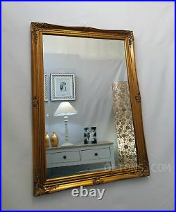 French Style Ornate Vintage Antique Design Bevelled Wall Mirror 60x90cm Gold