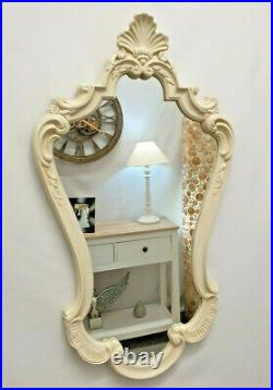 French Style Ornate Vintage Antique Design Wall Mirror 80x48cm Ivory