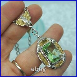 GOREGOUS Art Deco Vintage Rhodium Gold Plate Vaseline Glass ORNATE Necklace 16.5