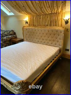 Gold Chateau Style French Rococo Ornate Vintage King Size Bed Frame & Mattress