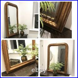 Heavy Ornate Plaster Old Gold Antique Brass Rounded Top Wall Mirror Over Mantel