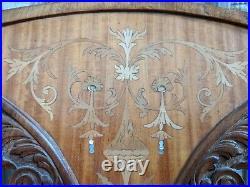 INLAID Antique Vintage ART NOUVEAU Walnut Carved Back Ornate Hall Parlor Chair