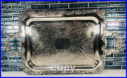 LARGE SILVER PLATED FOOTED HANDLED TRAY. Ornate Vtg floral scallop design