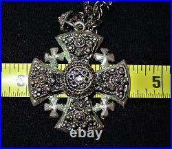 L@@K Antique / Vintage Ornate 1000 Pure Silver Jerusalem Cross Pendant
