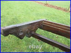 L Vintage English Dark Carved Wood Plate Display Rack Ornate Beautiful Shelve