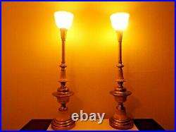 Lamps Pair Vintage Stiffel 3-way Fancy Ornate Brass Metal Torchiere Table Lamps