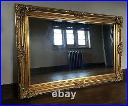 Large Antique Gold Over mantle French Ornate Vintage Period Wall Mirror 122cms