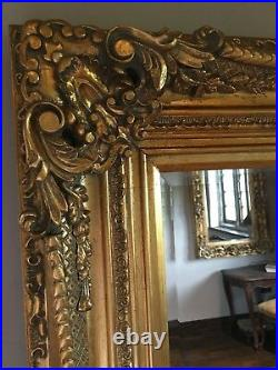 Large Antique Gold Over mantle French Ornate Vintage Period Wall Mirror 5ft