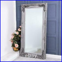 Large Antique Silver Heavily Mirror Ornate Wall Full Length Vintage 173cm x 87cm