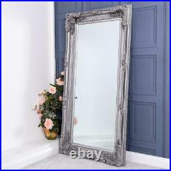 Large Antique Silver Mirror Heavily Ornate Wall Full Length Chic 173cm x 87cm