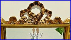 Large Antique/Vtg 44 Carolina Co. Ornate Gold Syroco RIBBON BOW Beveled Mirror