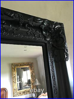 Large Black Ornate French Statement Vintage Swept Over mantle Wall Mirror 152cm
