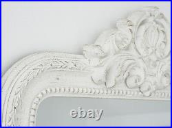 Large Shabby Chic French Antique White Ornate Rocco Mirror Vintage Mothers Day
