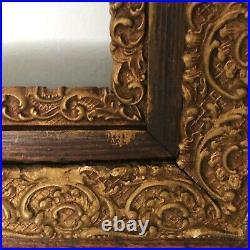Large Victorian Oak Gold Gesso Picture Frame Antique Wood Victorian Vtg 26x 30