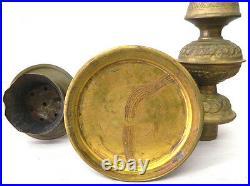 Large Vintage Brass Copper Wood Hookah Antique Rare Ornate 25.5 3 piece set