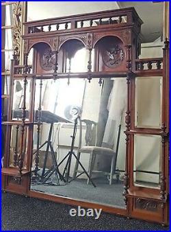 Large Vintage Carved Solid Wood Ornate Over-Mantle Mirror with Shelves