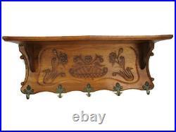 Large Vintage Hand Carved Wood Coat Hat Rack Ornate Flowers FLower Basket