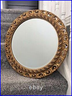 Large Vintage Round Gilded Ornate Gold Giltwood Mirror Italian Rococo Style 60's