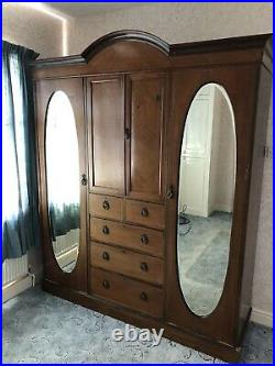 Large Vintage Sectional Armoire Oval Mirror Door Ornate Wardrobe Possible Del