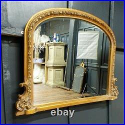 Large Vintage Style Ornate Gilded Gold Gilt Over Mantle Mantel Mirror Rwi5635