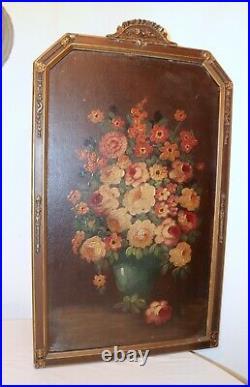 Large antique original botanical flower still life oil painting ornate frame