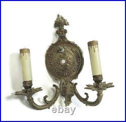Lot Of 2 Matching Vintage Ornate Brass Spanish Revival Regency 2 Light Sconces