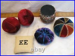 Lot Vintage Pin Cushions Sewing Notion Figural Apple Ornate Needlepoint